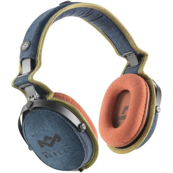 HOUSE OF MARLEY EM-JH063-BD Rise Up(TM) Over-Ear Headphones 3-Button  Microphone (Blue Denim)