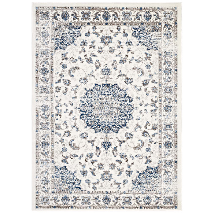 Lilja Distressed Vintage Persian Medallion 8x10 Area Rug 1127B-810