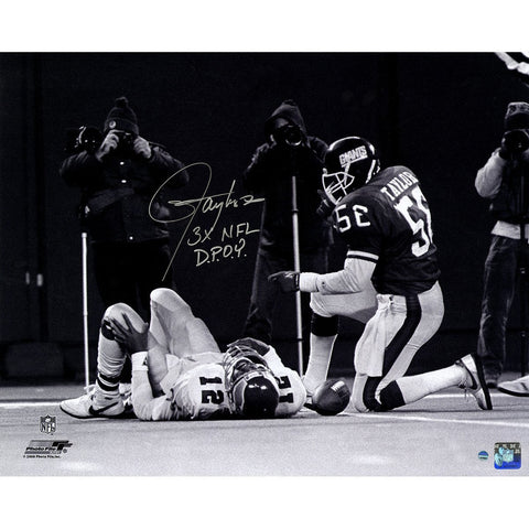 Lawrence Taylor Sack over Randall Cunningham Horizontal BW 16x20 Photo w/ 3x NFL DPOY Insc