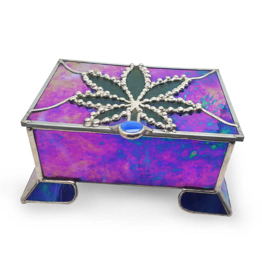 WEEDS® Glass - Stained Glass Treasure Box - Purple and blue