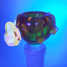 Load image into Gallery viewer, Skullfish Glass - UV Reactive Honey Pot - Yellow