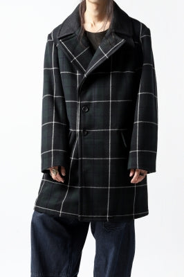sus-sous great coat / wool cashmere twill blackwatch