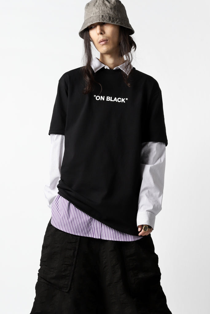 "[ T-shirt ] A.F ARTEFACT x buggy exclusive ""ON BLACK"" T-SHIRT Price / ¥16,500 - (in tax) Size / 2, 3 (*Fitting : 2) Color / Black x Purple Material / Luxury Jersey (Cotton)  [ Shirt ] KAZUYUKI KUMAGAI Paneled Shirt Detachable-Detail [Stretch Stripe] Price / ¥28,600 - (tax in) Size / 3 (*One Size/*Fitting;3) Color / S.Purple Material / Stretch Stripe (Cotton,Nylon,Polyurethane)"