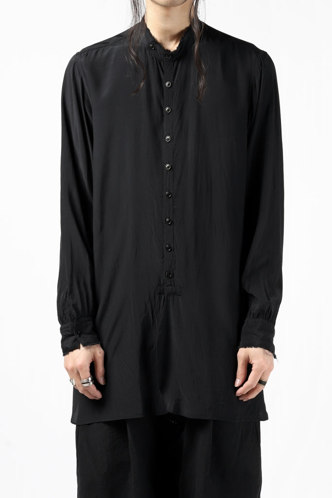 [ Shirt ] KLASICA exclusive SH-021 LONG SHIRT / FUJI ETTE Price / ¥30,800 - (in tax) Size / 2,3 (*Fitting;2) Color / Black Material / Fuji-Ette (Rayon)