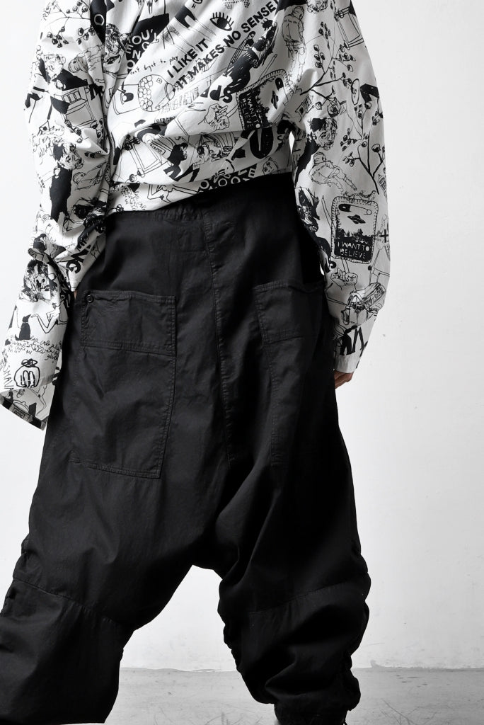 RUNDHOLZ DIP DROP CROTCH BAGGY POCKET PANTS / DYED STRETCH TWILL