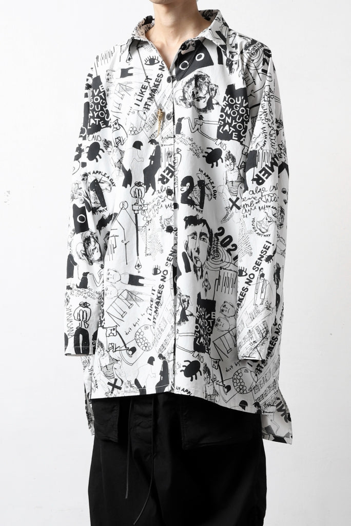 PAL OFFNER OVER SIZED SHIRT / SCRIBBLE PRINT