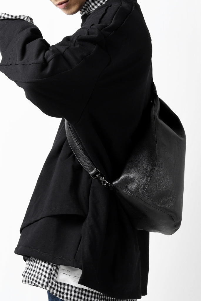 discord Yohji Yamamoto TUCK ONE SHOULDER BAG / NATURAL SHRINK CALF LEATHER  (BLACK)