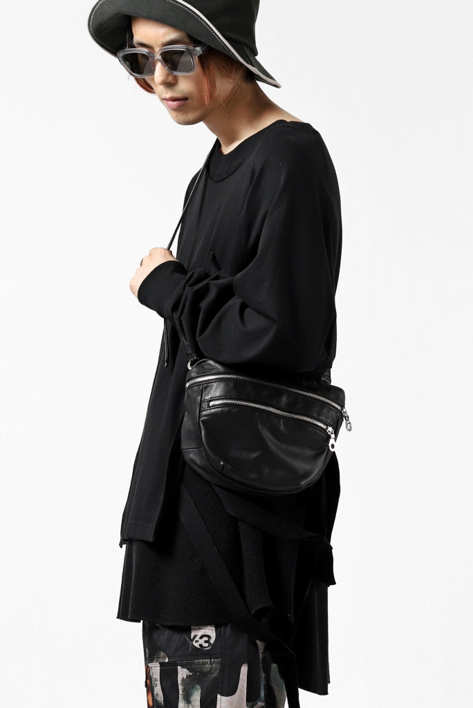[ Bag ] ISAMU KATAYAMA BACKLASH DRAWSTRING BACKPACK / MONOCHROME LUXURY STEER Price /  ¥39,600 - (in tax) Size / Free (H20cm W 27cm D7cm) Color / Black Material / Luxury Steer (Cow Leather)