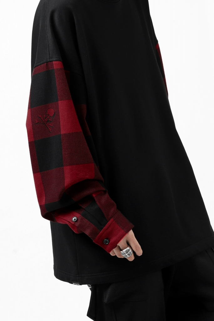 mastermind JAPAN DOCKING OVER TOPS / SWEAT+BLOCK CHECK (BLACK RED)