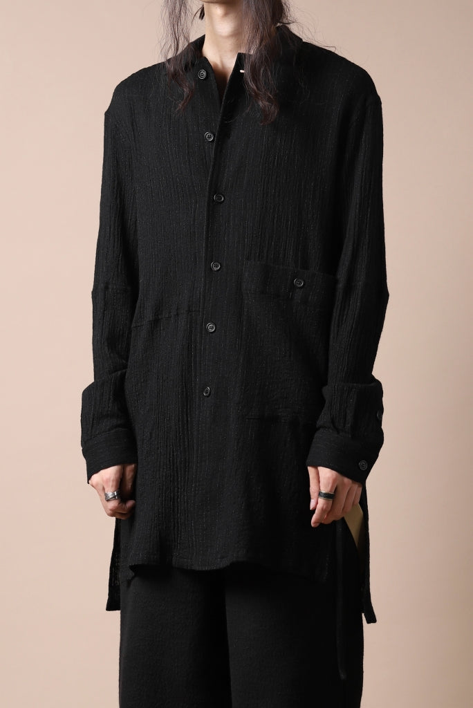 forme d'expression Long Wool Shirt with Pocket