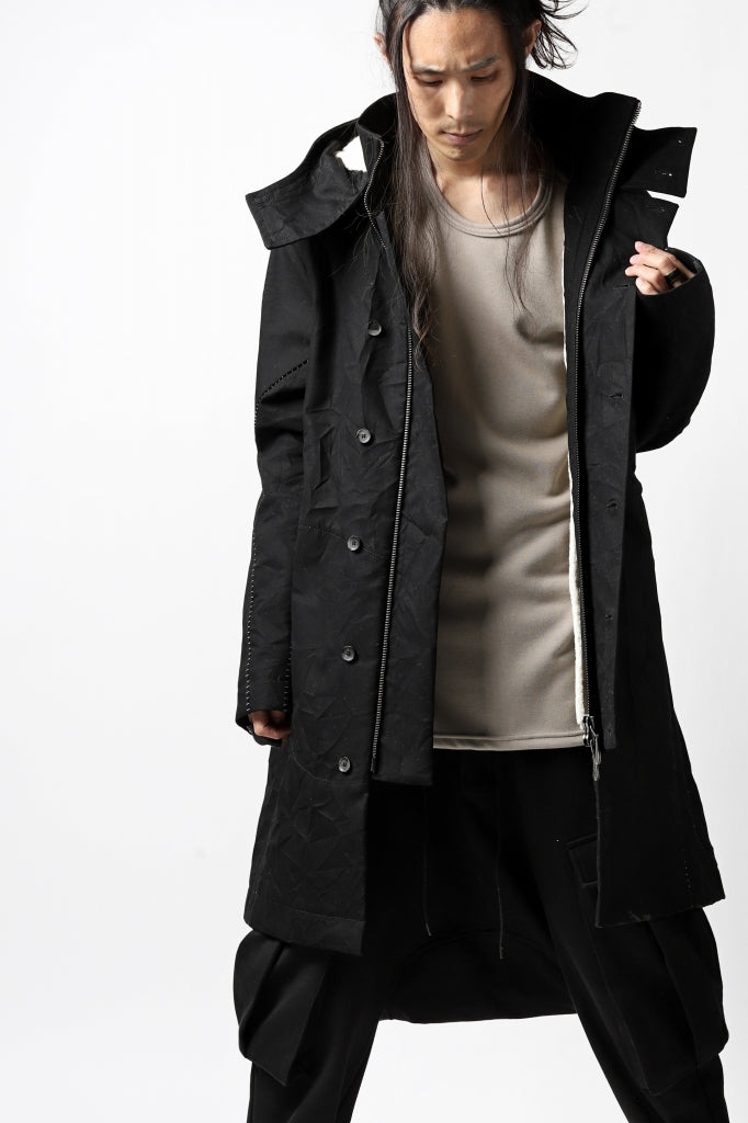 masnada MILITARY HOODIE LONG PARKA COAT with BOA LINNER / COTONE STROPICCIATO