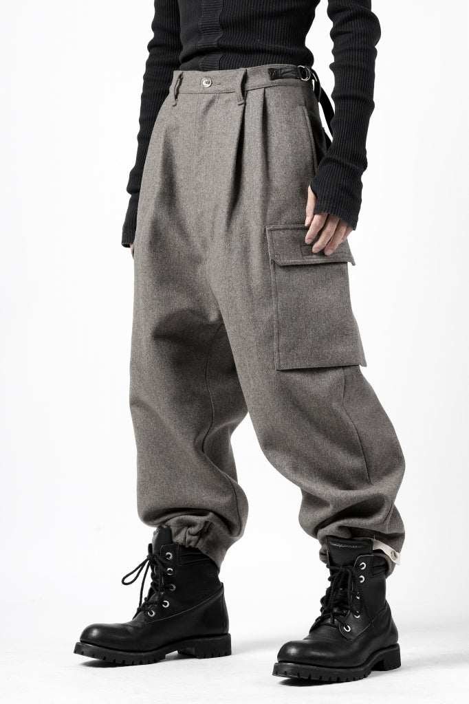 ISAMU KATAYAMA BACKLASH LOW CROTCH CARGO PANTS / CASHMERE WOOL MELTON