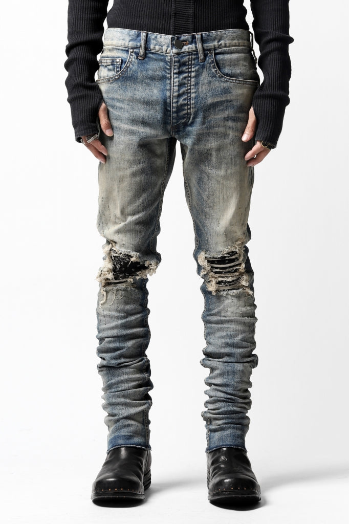 LOST ANGELS DISTRESSED DENIM PANTS / SKINNY SHAPE (INDIGO x BLACK)