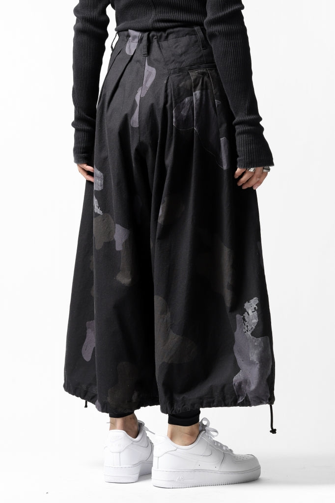 B Yohji Yamamoto THREE TUCKS WIDE PANTS / CAMOUFLAGE PAINT