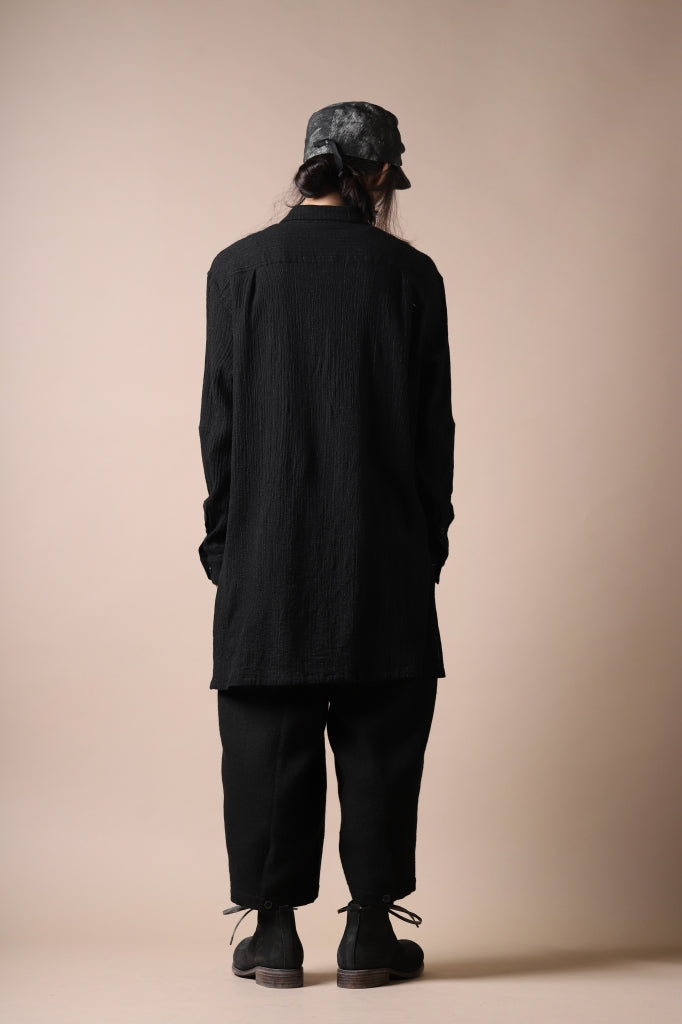 [ Shirt ] forme d'expression Long Wool Shirt with Pocket Price / ¥91,300 - (in tax) Size / M,L (*Fitting;M) Color / Black Material / Plain Weave (Cotton)  [ Pants ] Aleksandr Manamis Slit Cropped Pant with Suspender Price / ¥141,900 - (in tax) Size / Ⅱ (*Fitting;Ⅱ) Color / Black Material / Woven (Wool,Cotton,Linen)  [ Shoes ] DIMISSIANOS & MILLER chukka boot / culatta reverse matte Price / ¥132,000 - (in tax) Size / 41,42 Color / Black Material / Culatta Reverse Matte (Horse Leather)  [ Cap ] forme d'expression Cadet Cap Price / ¥23,100 - (in tax) Size / L (*Fitting;L) Color / Carbon Material / Woven (Ramie,Linen)