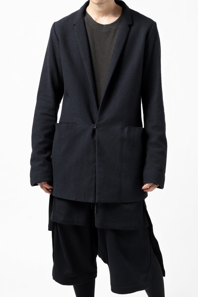 blackcrow 1B jacket silk wool cotton tweed with leather button