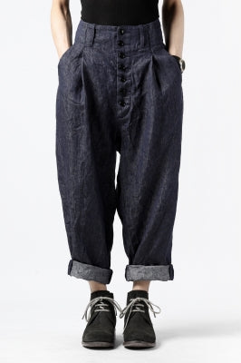 KLASICA SABRON WIDE TAPERED TROUSERS / DEEP DYED LINEN DENIM