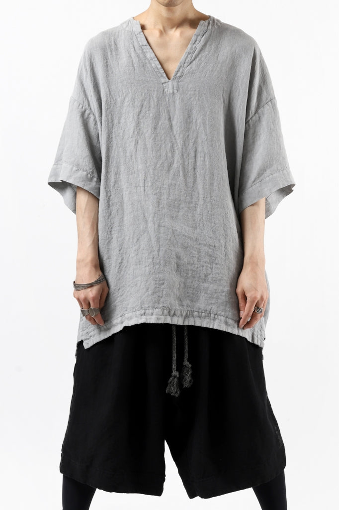_vital exclusive collarless pullover shirt / sumi dyed linen