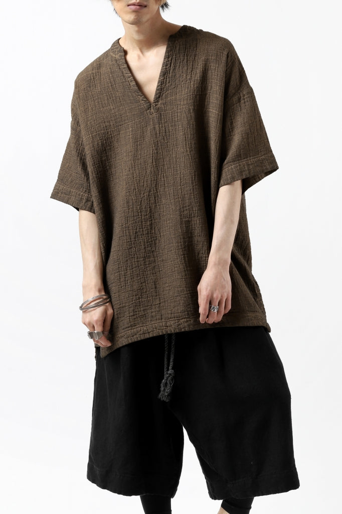 _vital exclusive collarless pullover shirt / persimmon dyed linen