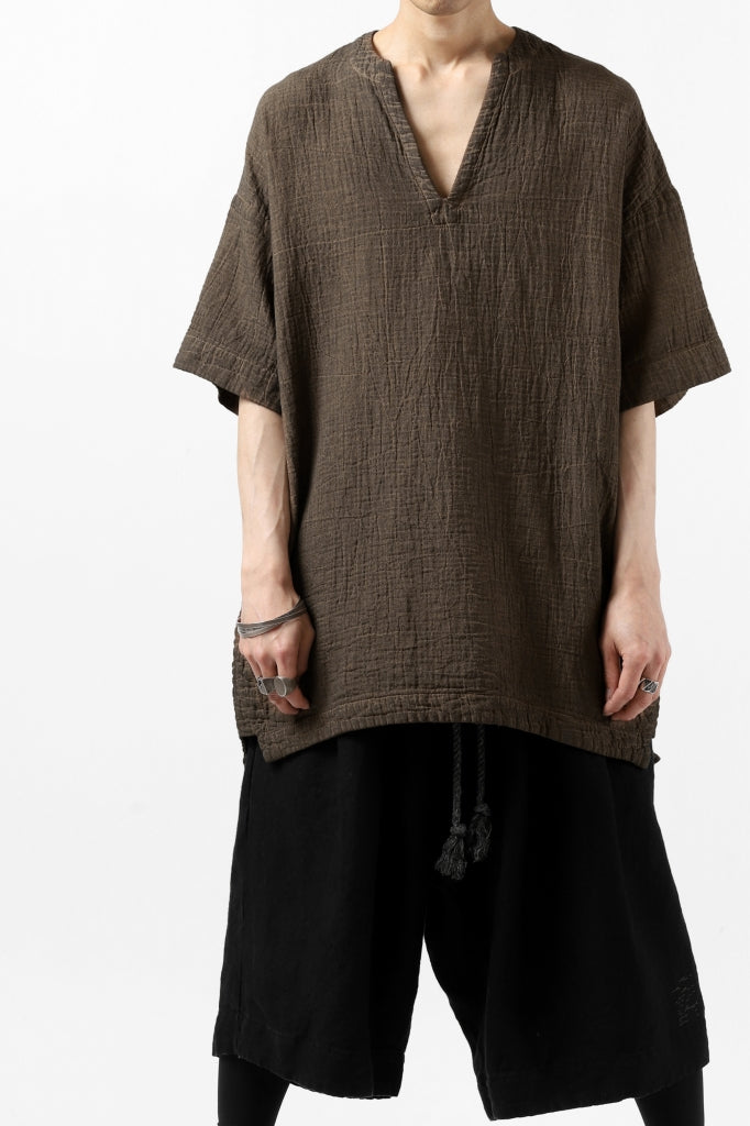 [ Tops ] _vital exclusive minimal tunica tops / persimmon dyed linen Price / ¥26,400 - (in tax) Size / 3 (*One Size) Color / Brown A Material / Double Gauze (Linen)