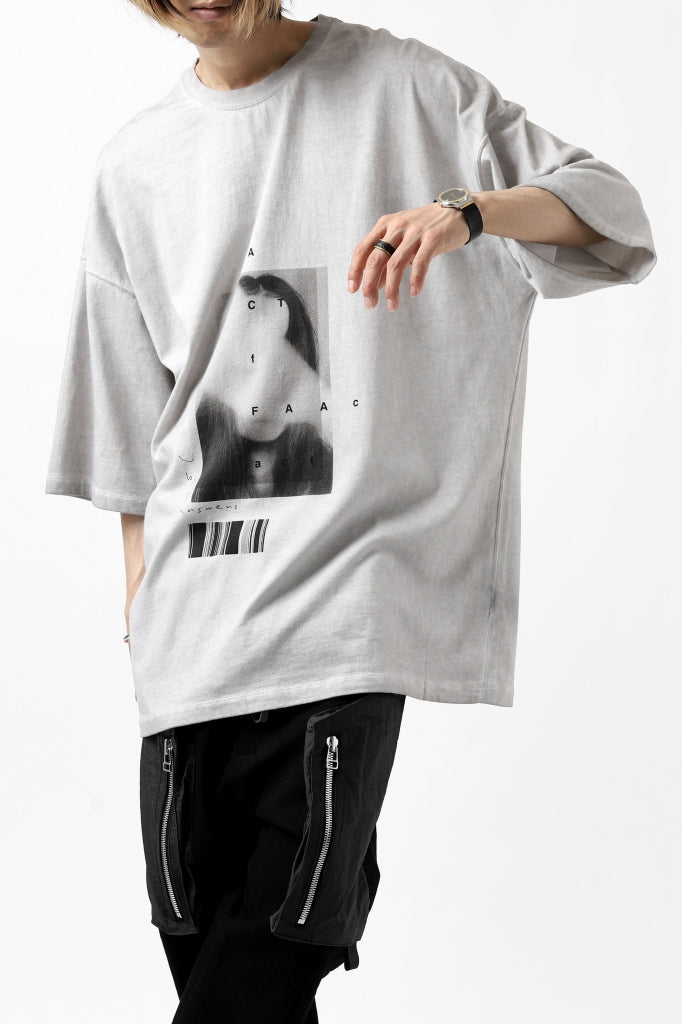 """A.F ARTEFACT """"TWINS"""" ICE DYEING LOOSEY T-SHIRT (GREY)"""