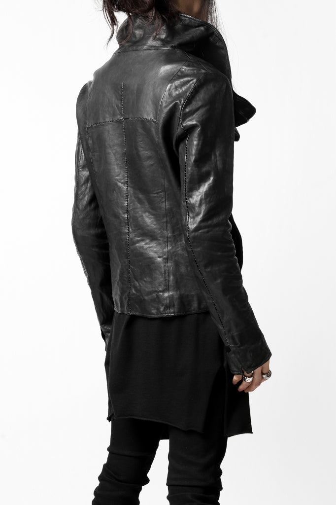 incarnation SHEEP LEATHER HIGH NECK WRAP JACKET / OBJECT DYED