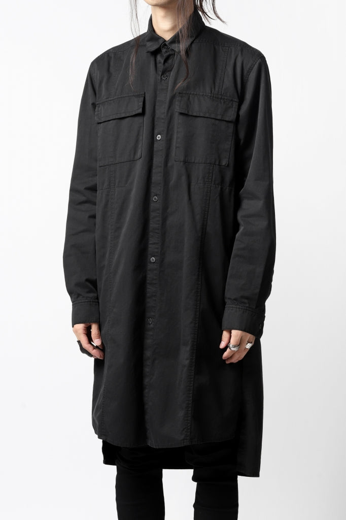 A.F ARTEFACT MILITARY LONG SHIRT / TYPEWRITTER CLOTH (REACTIVE DYED)