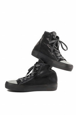 incarnation exclusive HIGH CUT LACE UP SNEAKER / HORSE FULL GRAIN (PIECE DYED BLACK)