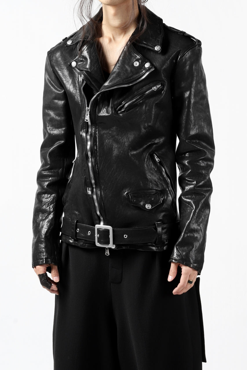 ISAMU KATAYAMA BACKLASH DOUBLE BREASTED JACKET / DOUBLE-SHOULDER OBJECT DYED (BLACK)