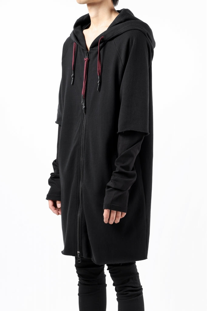 [ Hoodie ] FIRST AID TO THE INJURED HOODY LAYERED SLEEVE ZIP PARKA / FRENCH TERRY + JERSEY