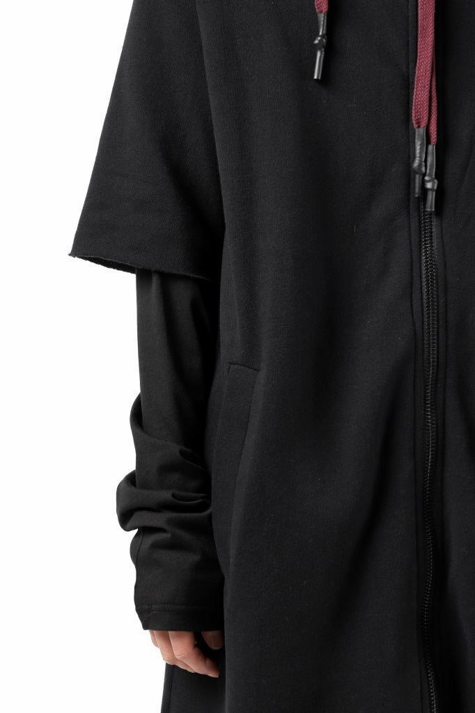 FIRST AID TO THE INJURED HOODY LAYERED SLEEVE ZIP PARKA / FRENCH TERRY + JERSEY