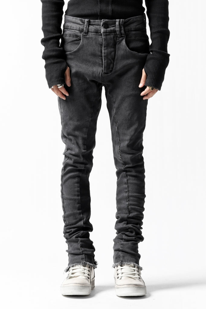 thomkrom OVER LOCKED SKINNY TROUSERS /  FADE STRETCH DENIM (LIGHT GREY)