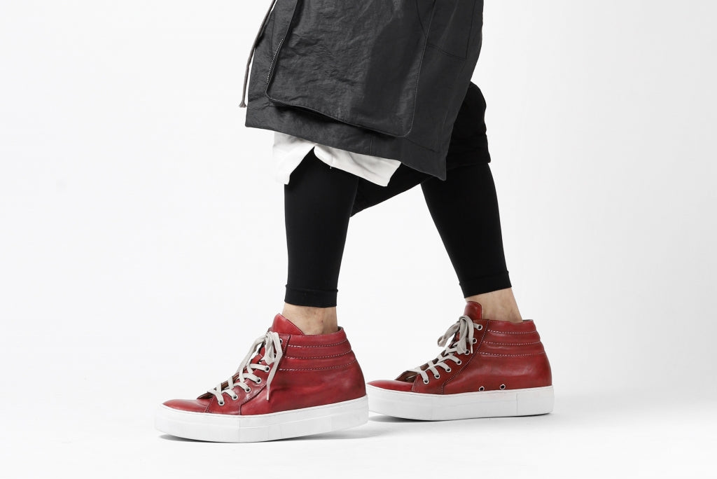 [ Shoes ] incarnation MID-SB SNEAKER / HORSE FULL GRAIN Price / ¥Open Price (販売価格はお問合せ下さいませ) Size / 41, 42 Color / Hand Dyed Dark Red Material / Horse Leather