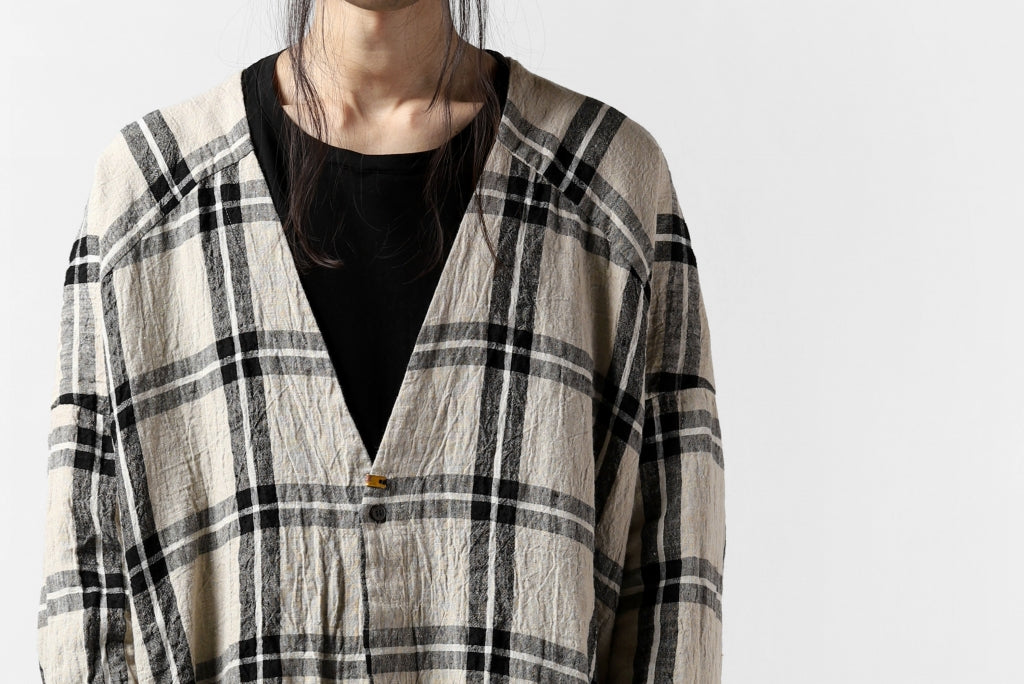 _vital exclusive stand collar relax long shirt