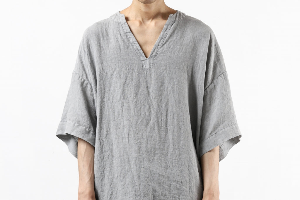_vital exclusive collarless pullover shirt / sumi dyed linen (L.GREY)