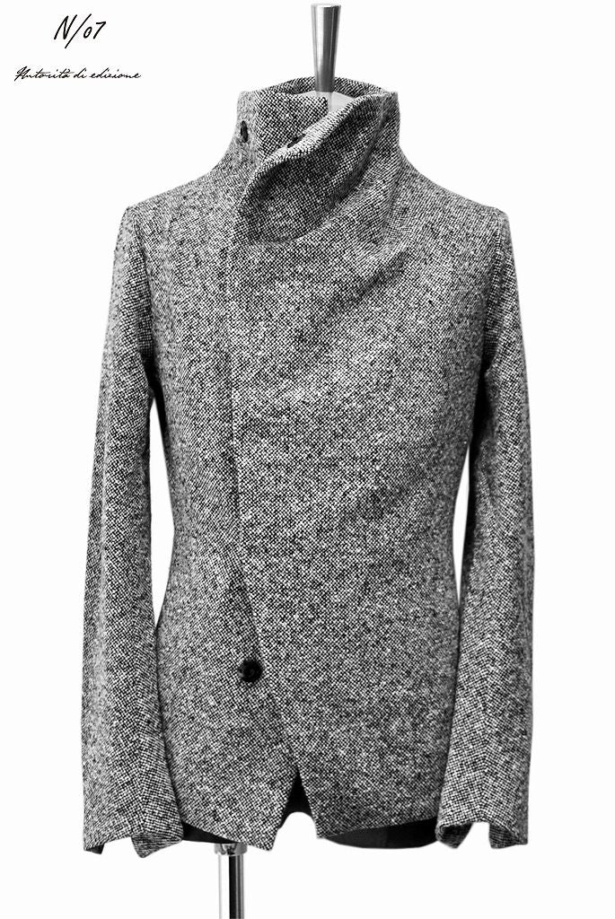 N/07 mixable tweed woven wrap jacket (BLACK MIX)