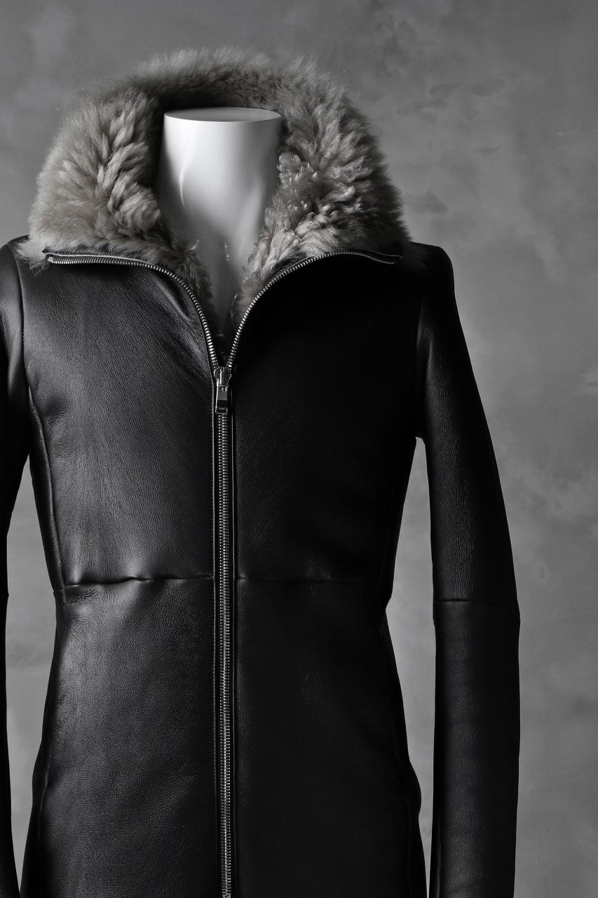 incarnation exclusive SHEEP SHEARLING MOUTON ZIP FRONT COAT (BLACK×GREY)