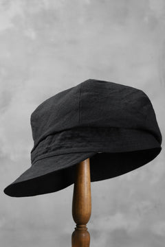 Load image into Gallery viewer, der antagonist. HAND CRAFTED CASQUETTE / COTTON CANVAS (BLACK)
