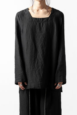 _vital square neck tunica tops / organic linen (BLACK)