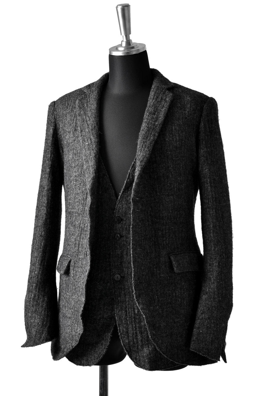blackcrow tailor vest (wool linen fulling) (GREY)