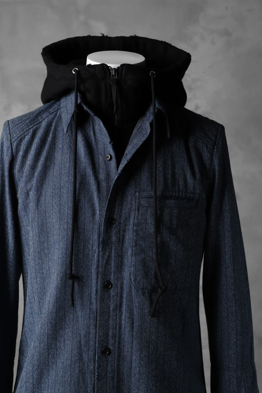 画像をギャラリービューアに読み込む, N/07 exclusive Combined Shirt-Jacket [ Stripe Denim×Fleecy Cotton ] (INDIGO STRIPE x BLACK)