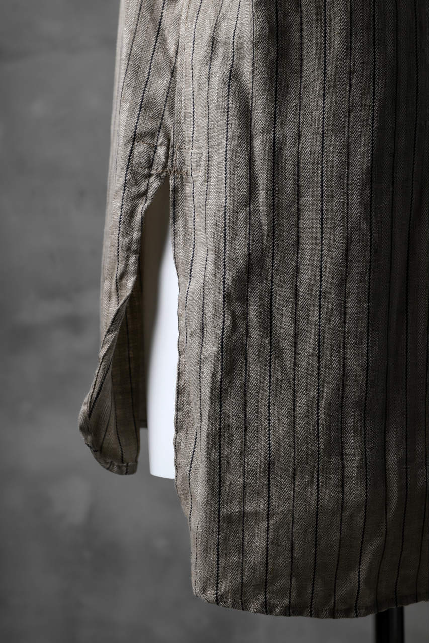 KLASICA STRIPED HERRINGBONE LINEN SHIRT / GARMENT WASHED (BEIGE)