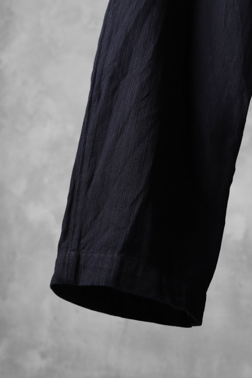 sus-sous wide trousers MK-1 / C65L35 stripe twill (INDIGO CHARCOAL)