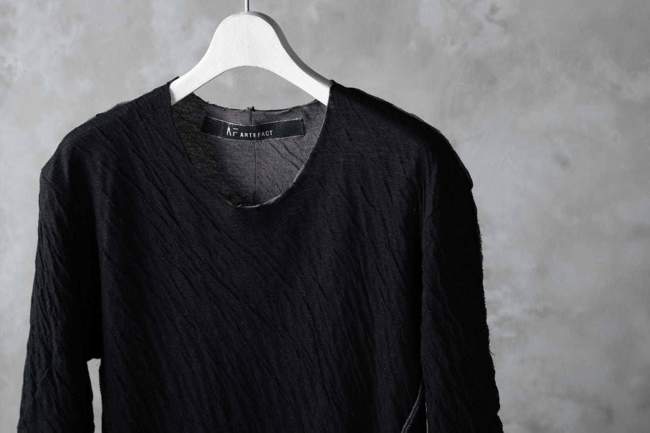 A.F ARTEFACT OUT SEAM HALF SLEEVE TEE / CONNECTING JERSEY (BLACK×GREY)