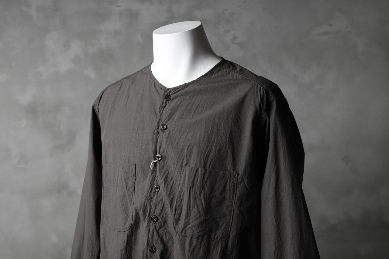 KLASICA SABRON HALF BUTTON PULLOVER SHIRT / TYPE-WRITER CLOTH (MOSS)