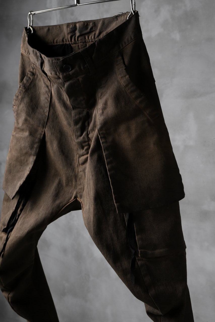 N/07 exclusive CONSTRUCTIVE LAYERED CARGO JODHPURS [ Stretch Weapon / Object Dye ] (D.BROWN(柿渋染+鉄媒染))
