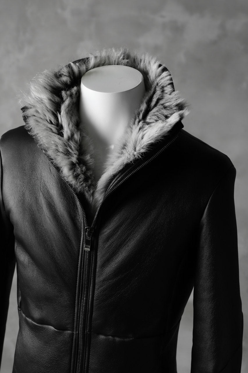 incarnation exclusive SHEEP SHEARLING MOUTON BLOUSON / HIGH NECK ZIP & SPIRAL ARM (BLACK×WHITE)