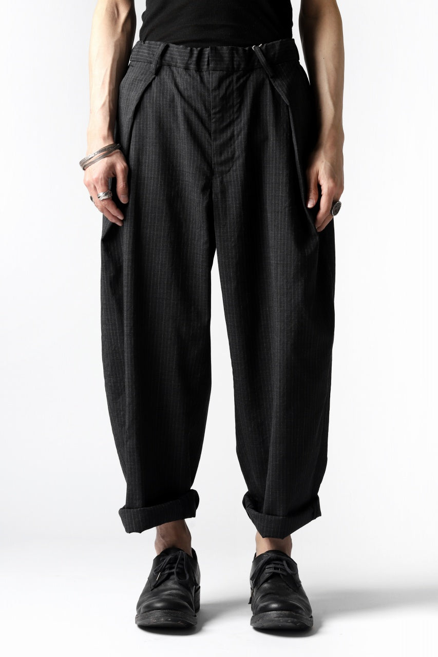 COLINA W-TUCK PANTS / WASHABLE WOOL TROPICAL (STRIPE)