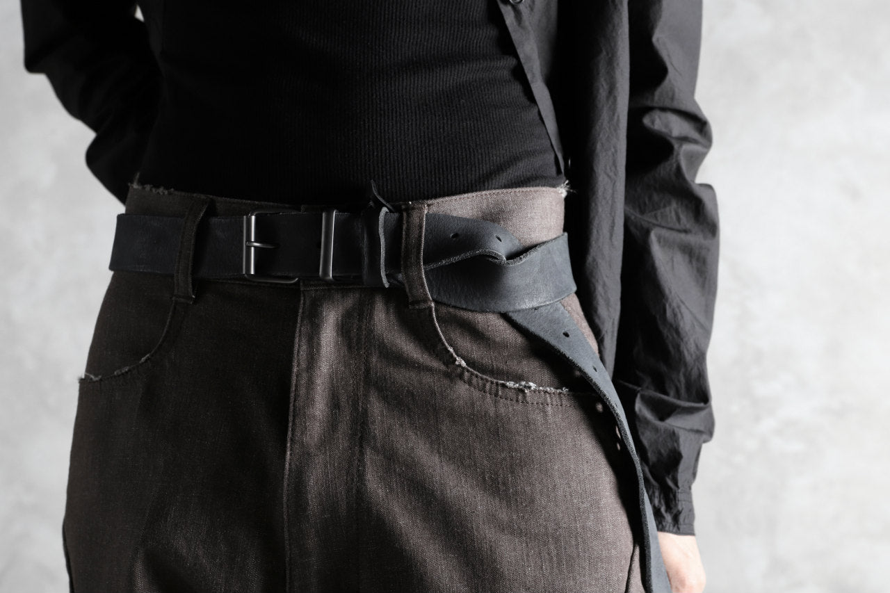 PAL OFFNER THICK LONG BELT / CALF LEATHER (BLACK)