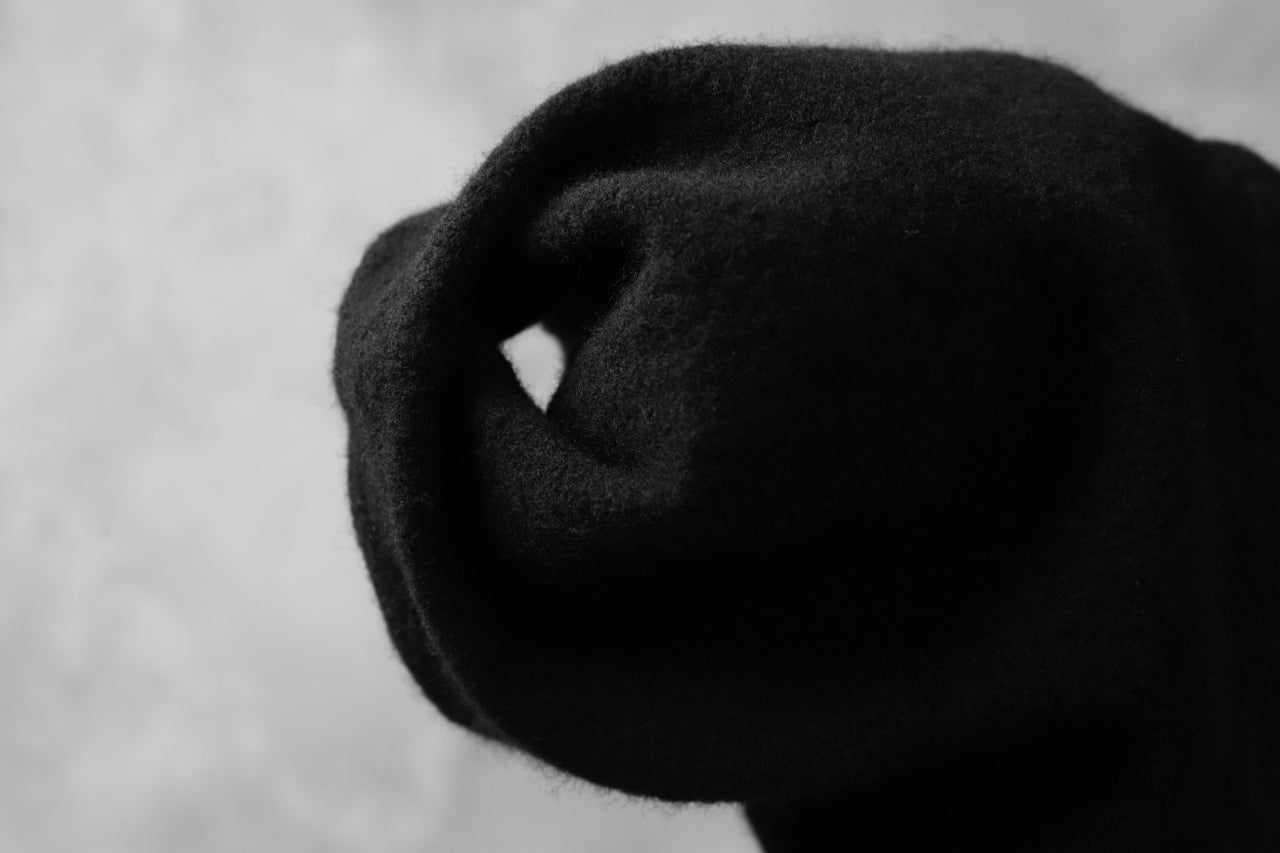 CEDRIC JACQUEMYN SHRINK WASHED FELTED BEENIE / VIRGIN WOOL (BLACK)